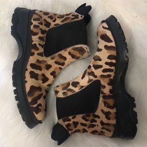 Prada calf hair leopard print hiking boots